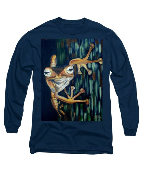 Long Sleeve T-Shirt featuring the painting Ribbit by Donna Tuten