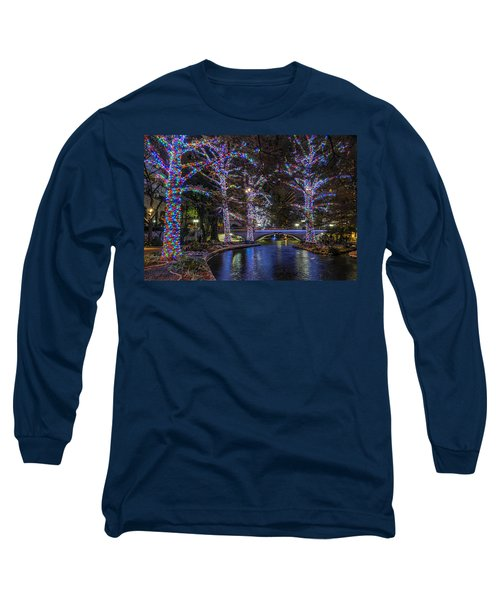 Long Sleeve T-Shirt featuring the photograph Riverwalk Christmas by Steven Sparks