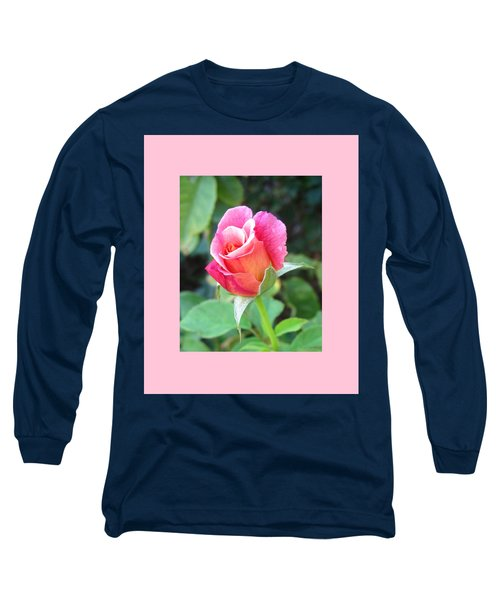 Rosebud With Border Long Sleeve T-Shirt by Mary Ellen Frazee