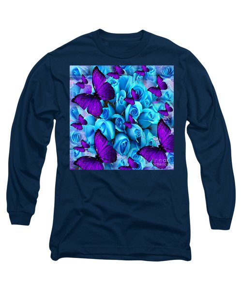 Roses And Purple Butterflies Long Sleeve T-Shirt by Saundra Myles