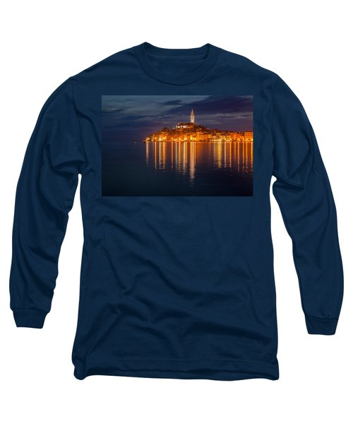 Long Sleeve T-Shirt featuring the photograph Rovinj By Night by Davorin Mance