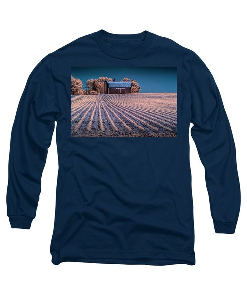 Rows In A Farm Field With Barn And Silo In Infrared Long Sleeve T-Shirt