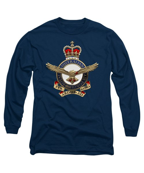 Royal Australian Air Force -  R A A F  Badge Over Blue Velvet Long Sleeve T-Shirt