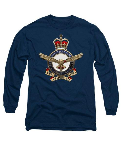Royal Australian Air Force -  R A A F  Badge Over Blue Velvet Long Sleeve T-Shirt