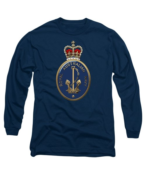 Royal Australian Navy -  R A N  Badge Over Blue Velvet Long Sleeve T-Shirt