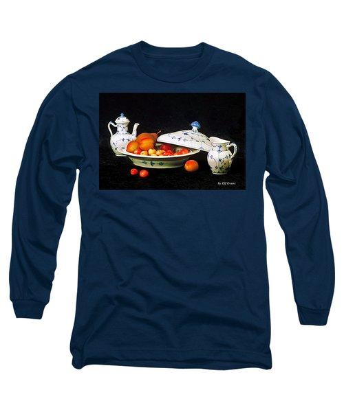 Royal Copenhagen And Fruits Long Sleeve T-Shirt by Elf Evans