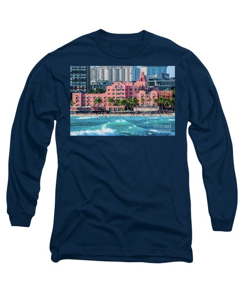 Long Sleeve T-Shirt featuring the photograph Royal Hawaiian Hotel Surfs Up by Aloha Art