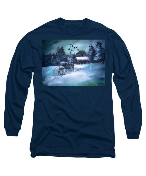 Rustic Winter Barn  Long Sleeve T-Shirt by Michele Carter