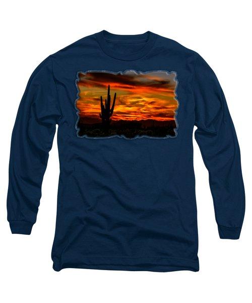 Saguaro Sunset H51 Long Sleeve T-Shirt by Mark Myhaver