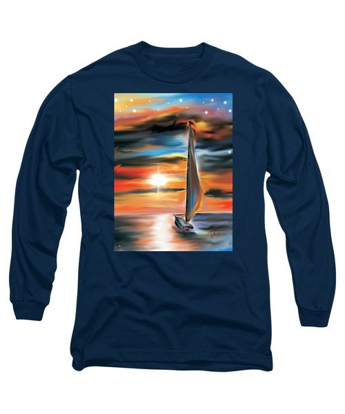 Sailboat And Sunset Long Sleeve T-Shirt by Darren Cannell