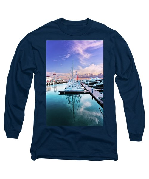 sailboats and yachts in the roads of the main sea channel of the Sochi seaport Long Sleeve T-Shirt