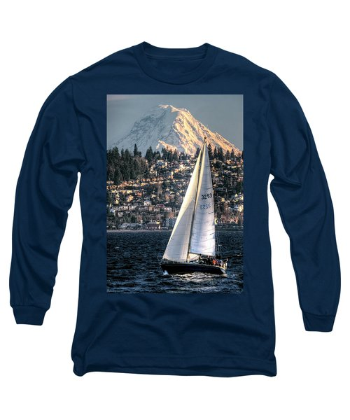 Sailing On Elliot Bay, Seattle, Wa Long Sleeve T-Shirt