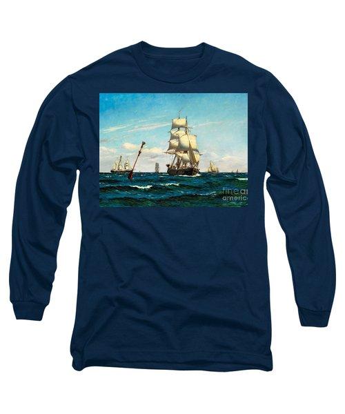 Sailing Ships At Sea Long Sleeve T-Shirt by Pg Reproductions