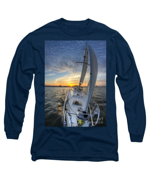 Sailing Sunset Sailboat Fate Charleston  Long Sleeve T-Shirt