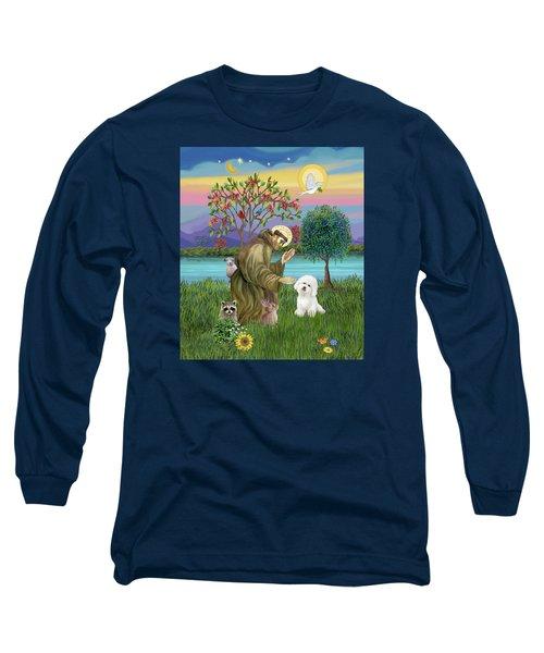Saint Francis Blesses A Bichon Frise Long Sleeve T-Shirt