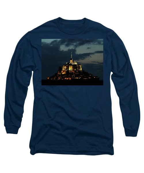 Long Sleeve T-Shirt featuring the photograph Saint Michel Mount After The Sunset, France by Yoel Koskas