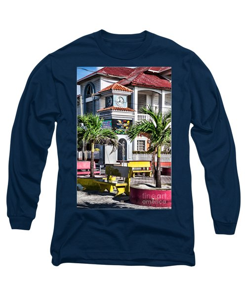 San Pedro Town Plaza Long Sleeve T-Shirt by Lawrence Burry