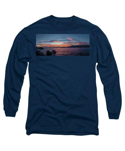 Sand Harbor Sunset Pano2 Long Sleeve T-Shirt