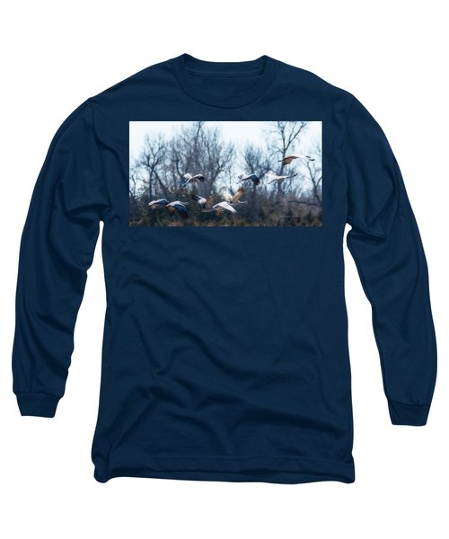 Sandhill Crane In Flight Long Sleeve T-Shirt by Edward Peterson
