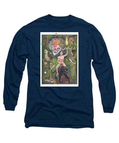 Long Sleeve T-Shirt featuring the mixed media Savage by J L Meadows