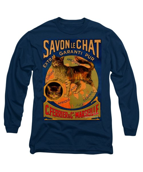 Savon Le Chat Antique French Poster Long Sleeve T-Shirt