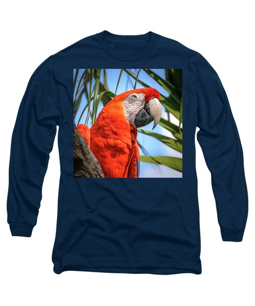 Long Sleeve T-Shirt featuring the photograph Scarlet Macaw by Steven Sparks