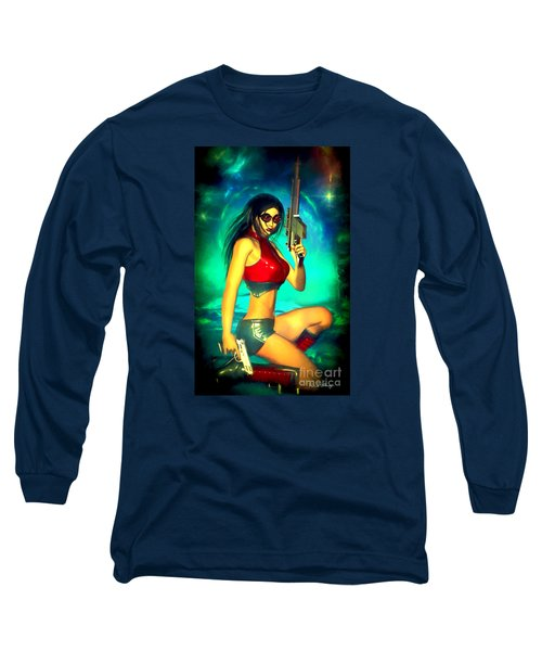 Sci-fi Brunette With Two Guns Long Sleeve T-Shirt