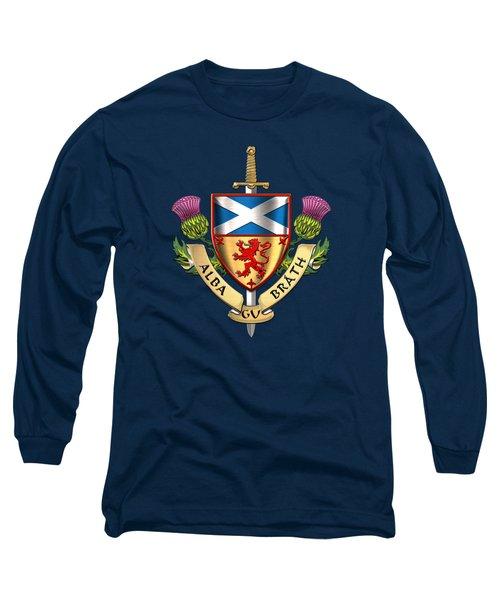 Scotland Forever - Alba Gu Brath - Symbols Of Scotland Over Blue Velvet Long Sleeve T-Shirt