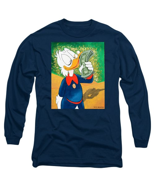 Scrooge Mcduck Kissing Money Long Sleeve T-Shirt by Victor Minca