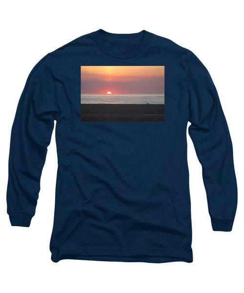 Seagull Watching Sunrise Long Sleeve T-Shirt by Robert Banach