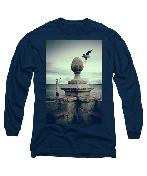 Long Sleeve T-Shirt featuring the photograph Seagulls In Columns Dock by Carlos Caetano