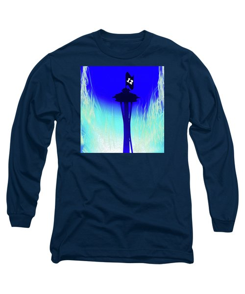 Seahawks Sunset At The Space Needle Long Sleeve T-Shirt by Eddie Eastwood