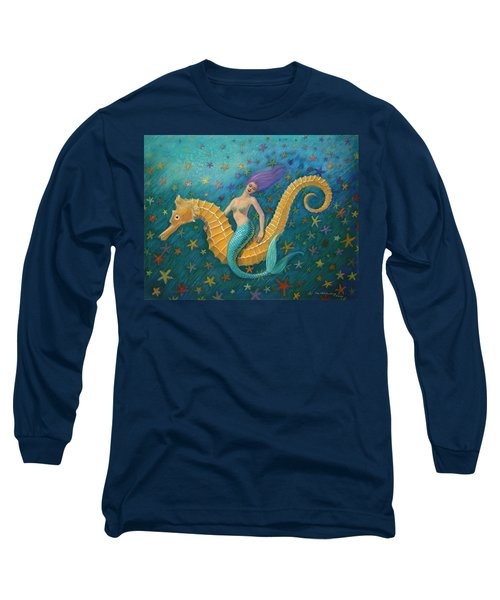 Long Sleeve T-Shirt featuring the painting Seahorse Mermaid by Sue Halstenberg