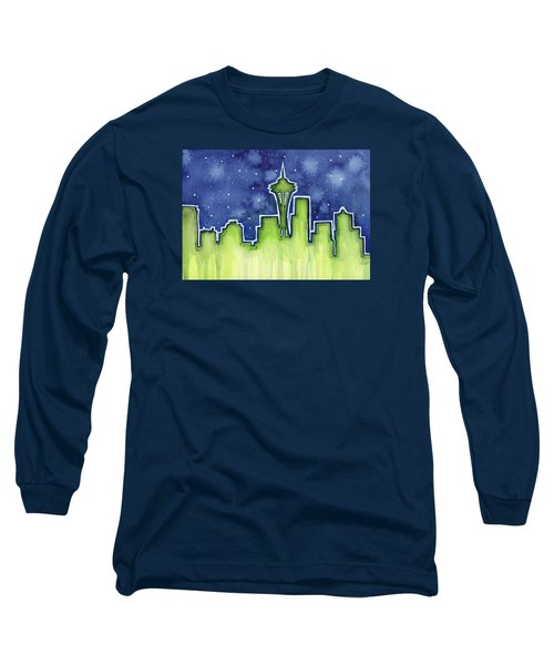 Seattle Night Sky Watercolor Long Sleeve T-Shirt by Olga Shvartsur