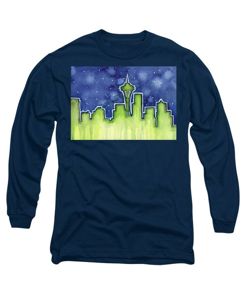 Seattle Night Sky Watercolor Long Sleeve T-Shirt