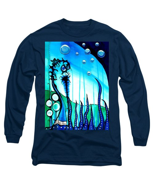 Long Sleeve T-Shirt featuring the painting Seaweed - Art By Dora Hathazi Mendes by Dora Hathazi Mendes