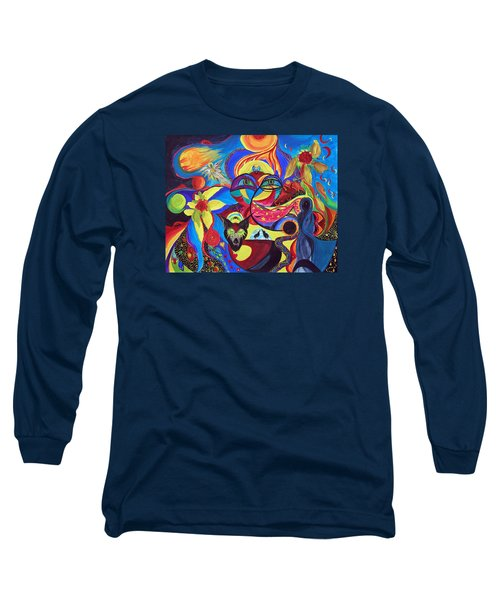 Long Sleeve T-Shirt featuring the painting Night Of The Wolf by Marina Petro
