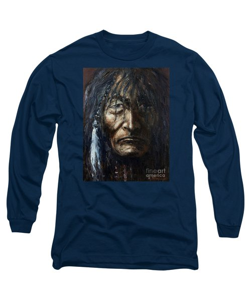 Long Sleeve T-Shirt featuring the painting Shaman by Arturas Slapsys