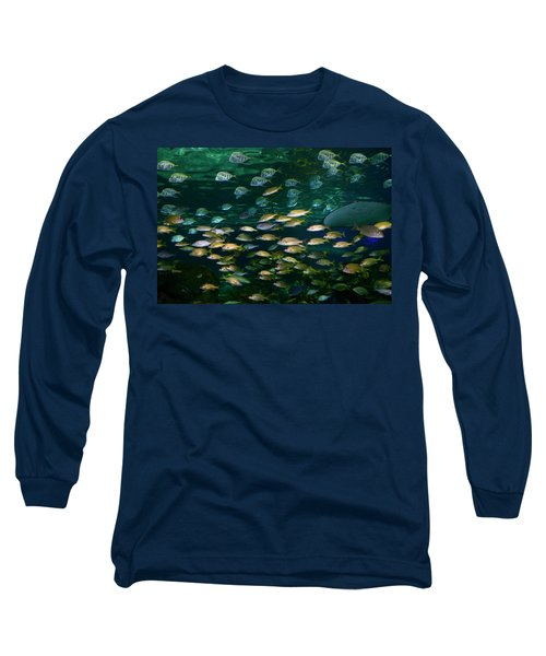 Shoals Of French Grunt And Bluestripe Snappers With Silver Lookd Long Sleeve T-Shirt