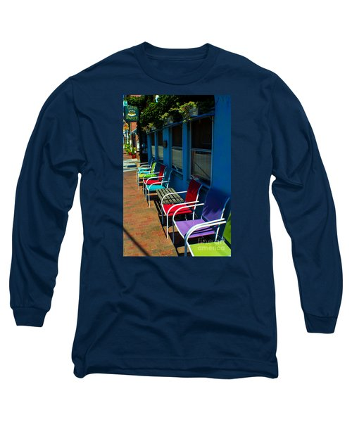 Sidewalk Cafe Long Sleeve T-Shirt by Kevin Fortier