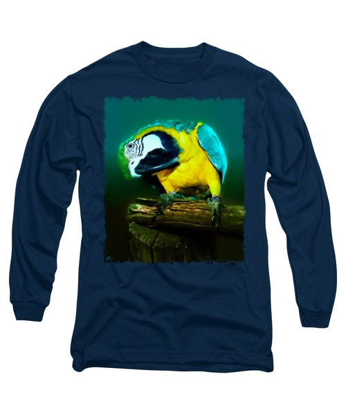 Silly Maya The Macaw Parrot Long Sleeve T-Shirt by Linda Koelbel