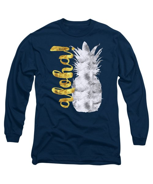 Silver And Gold Aloha Pineapple Tropical Fruit Of Hawaii Long Sleeve T-Shirt by Tina Lavoie