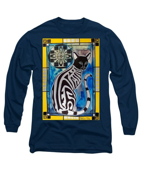 Silver Tabby With Mandala - Cat Art By Dora Hathazi Mendes Long Sleeve T-Shirt by Dora Hathazi Mendes