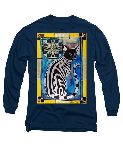 Silver Tabby With Mandala - Cat Art By Dora Hathazi Mendes Long Sleeve T-Shirt