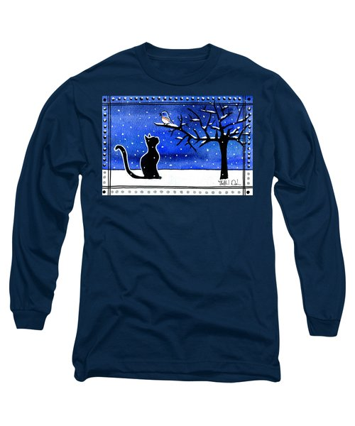 Sing For Me - Black Cat Card Long Sleeve T-Shirt