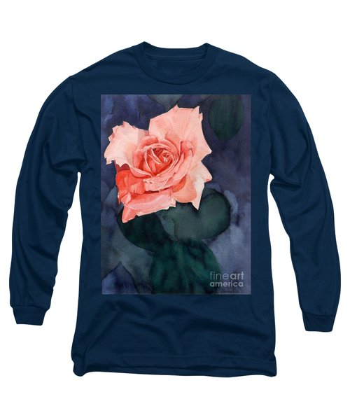 Watercolor Of A Magic Bright Single Red Rose Long Sleeve T-Shirt