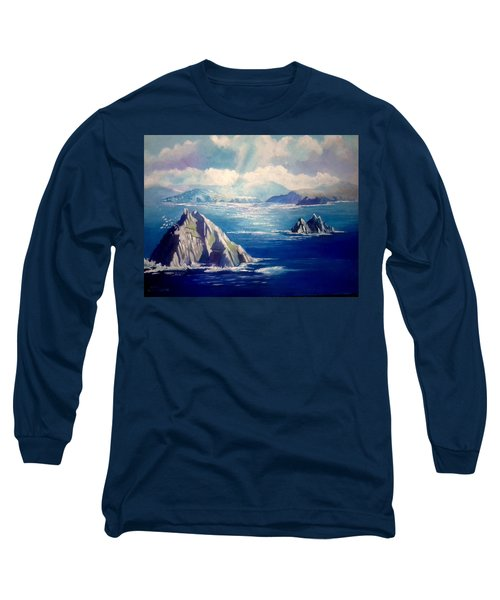 Long Sleeve T-Shirt featuring the painting Skelligs Ireland by Paul Weerasekera