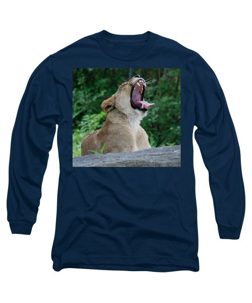 Long Sleeve T-Shirt featuring the photograph Sleepy Lion by Richard Bryce and Family