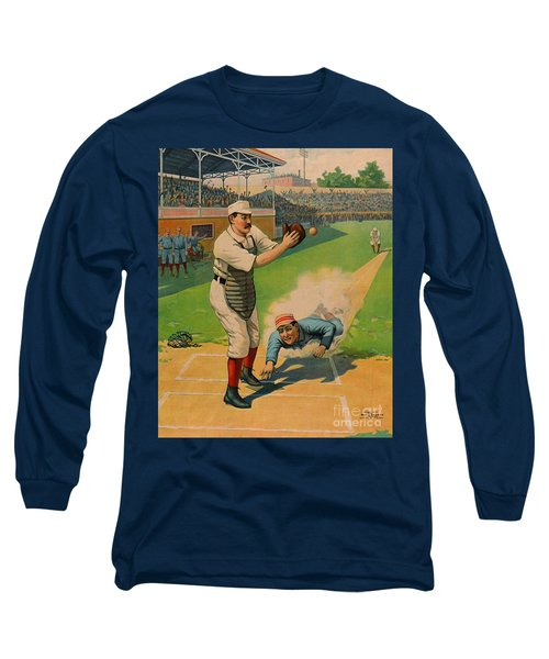 Sliding Home 1897 Long Sleeve T-Shirt by Padre Art