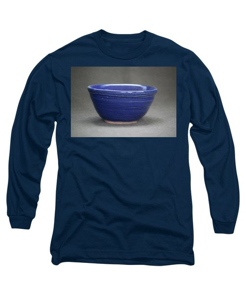Small Blue Ceramic Bowl Long Sleeve T-Shirt by Suzanne Gaff